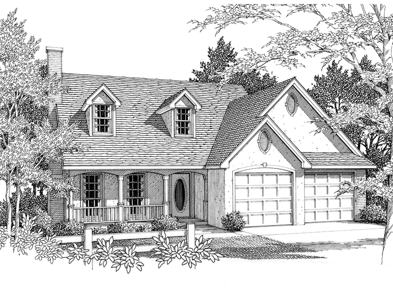 Stucco Cape Cod Home With Country Style