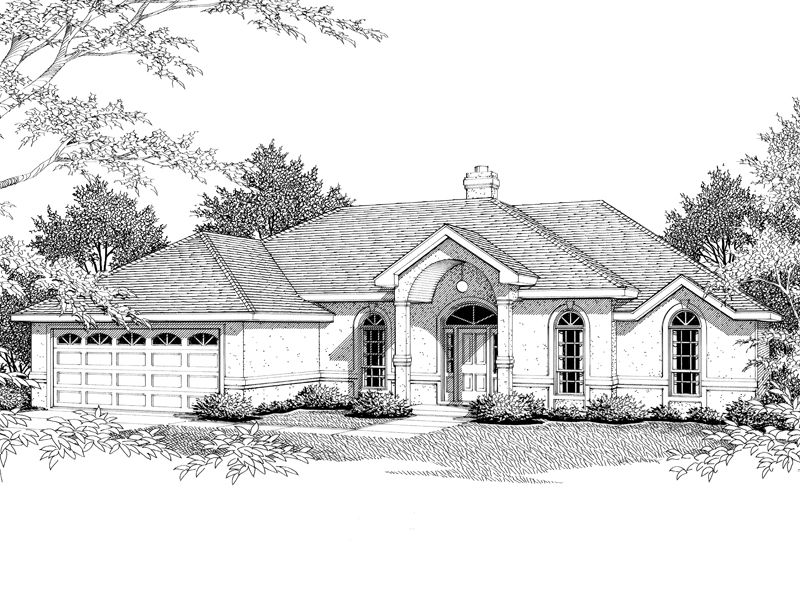Arched Entrance Is The Focal Point Of This Sunbelt Home