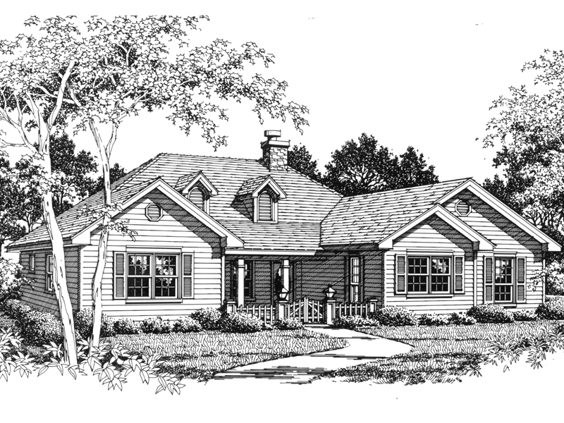 Great-Looking Country Ranch Home With Covered Porch