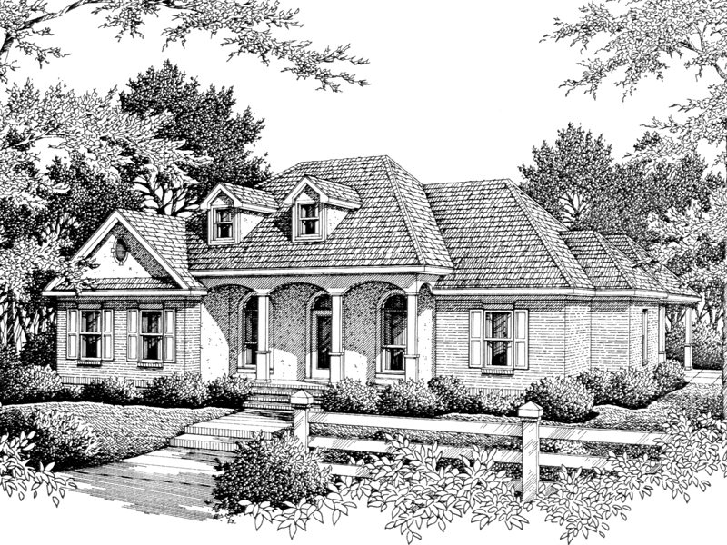 Country Ranch House With Series Of Arches Across The Front Porch