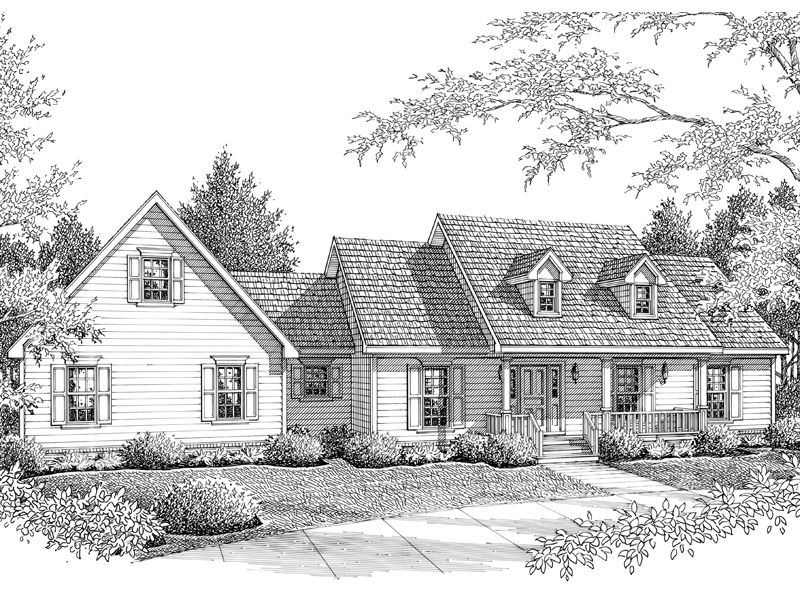 Ranch House Plan Front of Home - 069D-0103 | House Plans and More