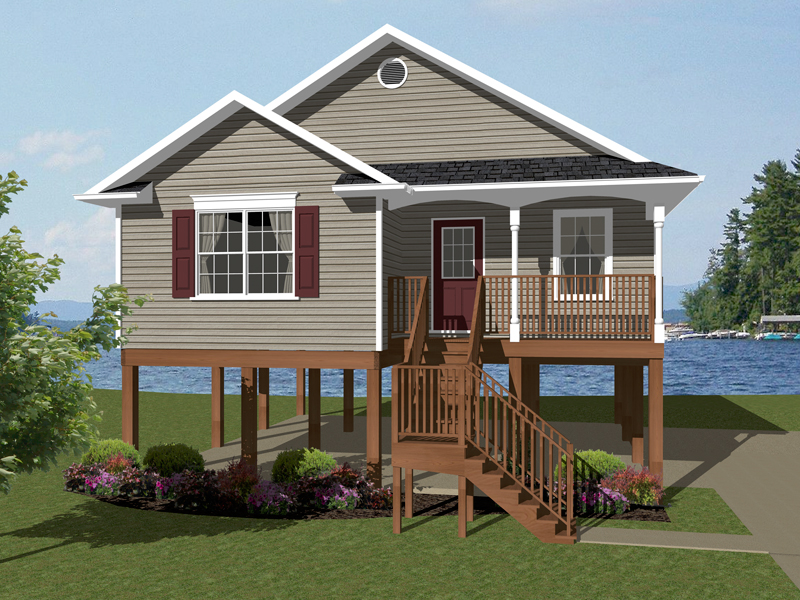 superior elevated beach house plans #10: Sunbelt Home Plan Front of Home - 069D-0108 | House Plans and More
