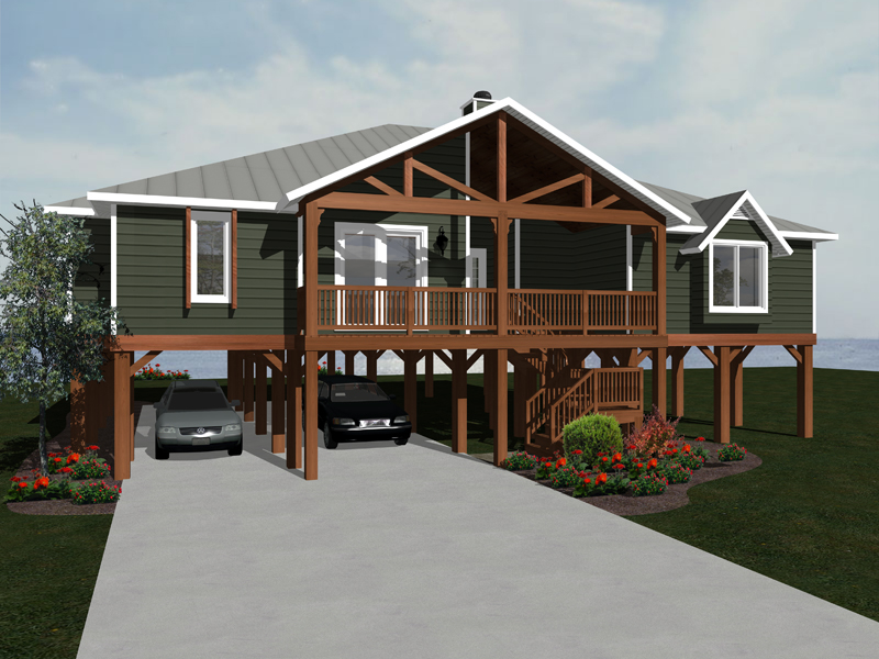 Beach and Coastal House Plan Front of Home 069D-0116
