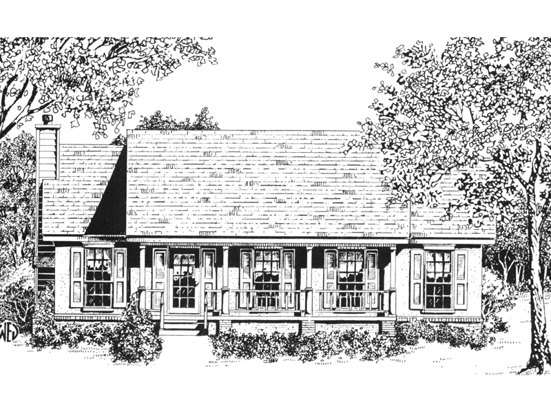 Ranch House Plan Front of Home - 069D-0119 | House Plans and More