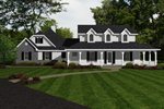 Farmhouse Plan Front of Home - 069D-0124 | House Plans and More