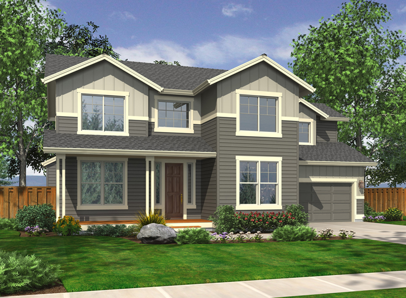 Two-Story House Mixes Vertical And Horizontal Siding