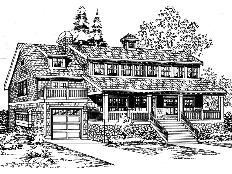 Shingle Bungalow Style Two-Story House