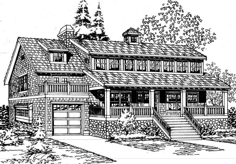 Lake House Plan Front Image of House - 071D-0048 | House Plans and More