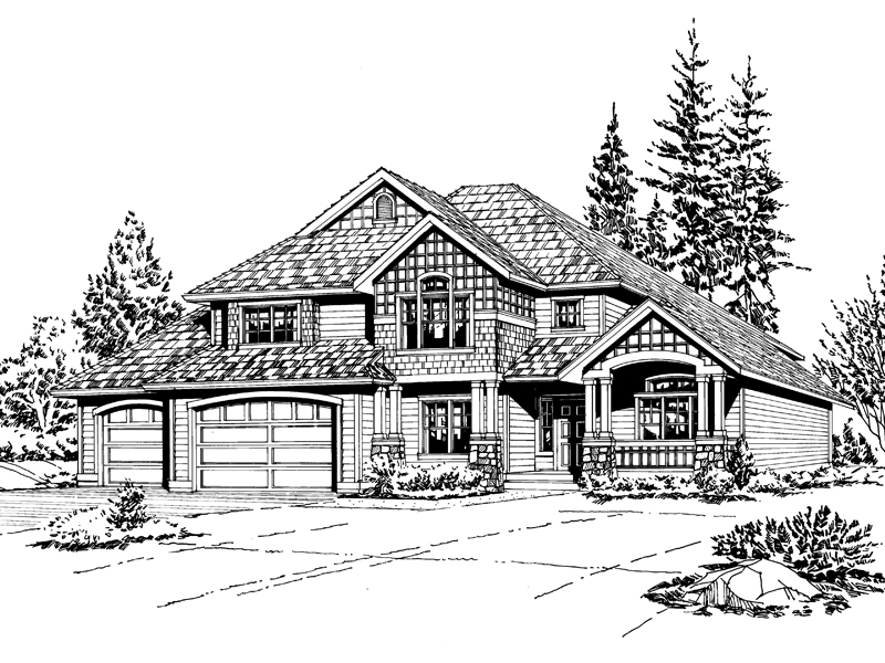 Tudor House Plan Front Image of House - 071D-0059 | House Plans and More