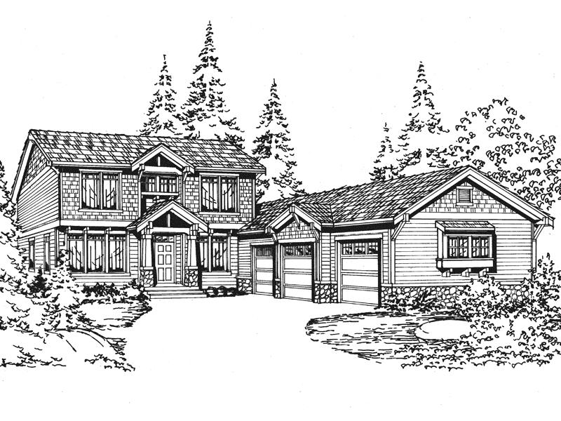 Rustic Home Has Three-Car Side Entry Garage