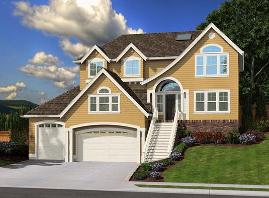 Multi-Level Home Design Has Arched European Style Front Entry