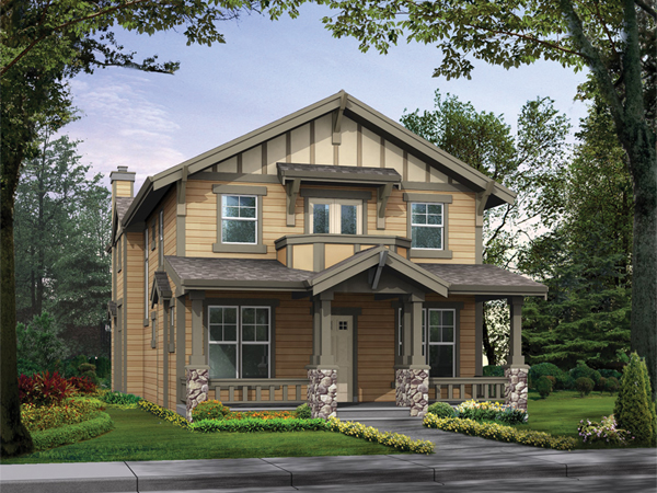 Valmeyer narrow lot home plan 071d 0085 house plans and more for Craftsman style house plans for narrow lots