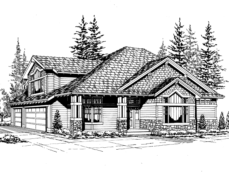 Rustic Home Plan With Many Gables