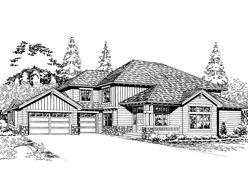 Arts & Crafts House Plan Front Image of House - 071D-0094 | House Plans and More