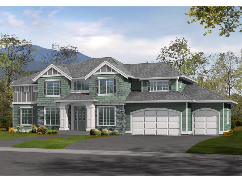 Luxury Shingle Style House With Cratsman Inspired Wood trim