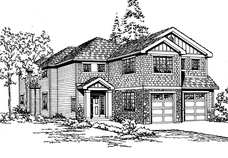 Shingle House Plan Front Image of House - 071D-0143 | House Plans and More