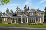 Symmetrical House Design With Craftsman Style Pillars