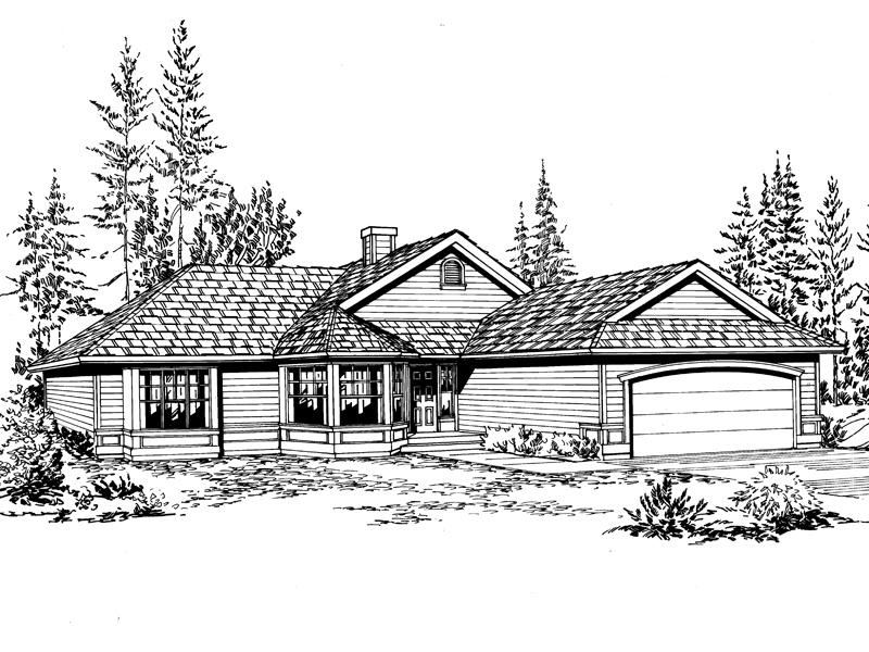 Ranch House Plan Front Image of House - 071D-0217 | House Plans and More