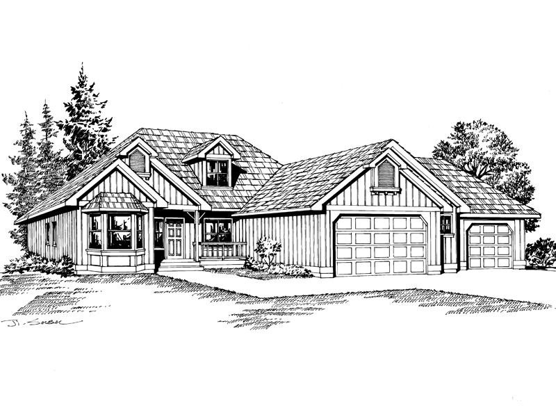 Ranch House Plan Front Image of House - 071D-0219 | House Plans and More