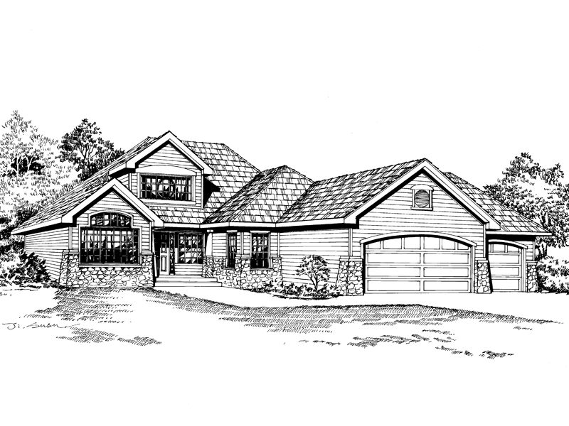 Ranch House Plan Front Image of House - 071D-0220 | House Plans and More
