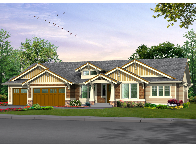 Franklin place craftsman home plan 071d 0225 house plans for Craftsman style ranch house