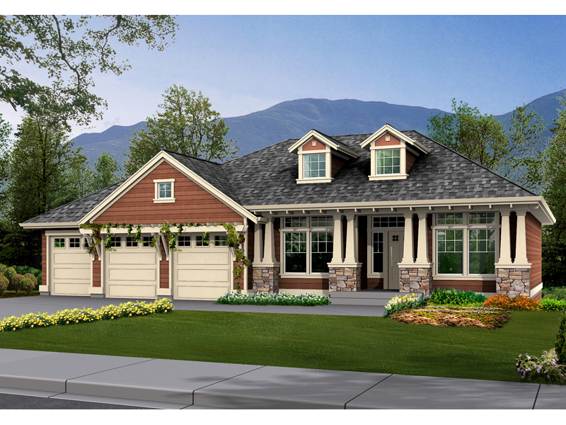 Ranch House Plan Front of Home - 071D-0229 | House Plans and More