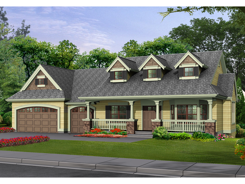 Country Craftsman Home Design With Triple Dormers