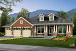Craftsman House With Stone Accented Pillars