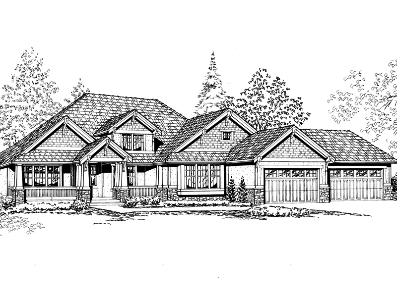 Craftsman House Plan Has Series Of Gables
