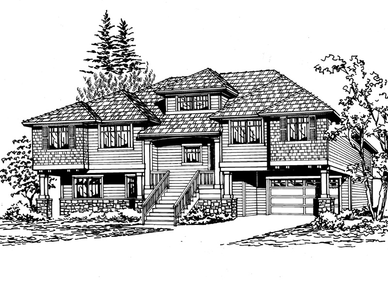 Arts & Crafts House Plan Front Image of House - 071D-0242 | House Plans and More