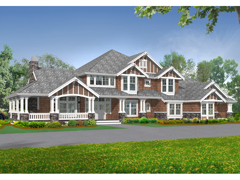 Rocktrail luxury rustic home plan 071s 0042 house plans for Luxury craftsman style house plans
