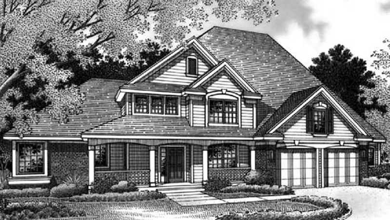 Arts and Crafts House Plan Front Image of House 072D-0005