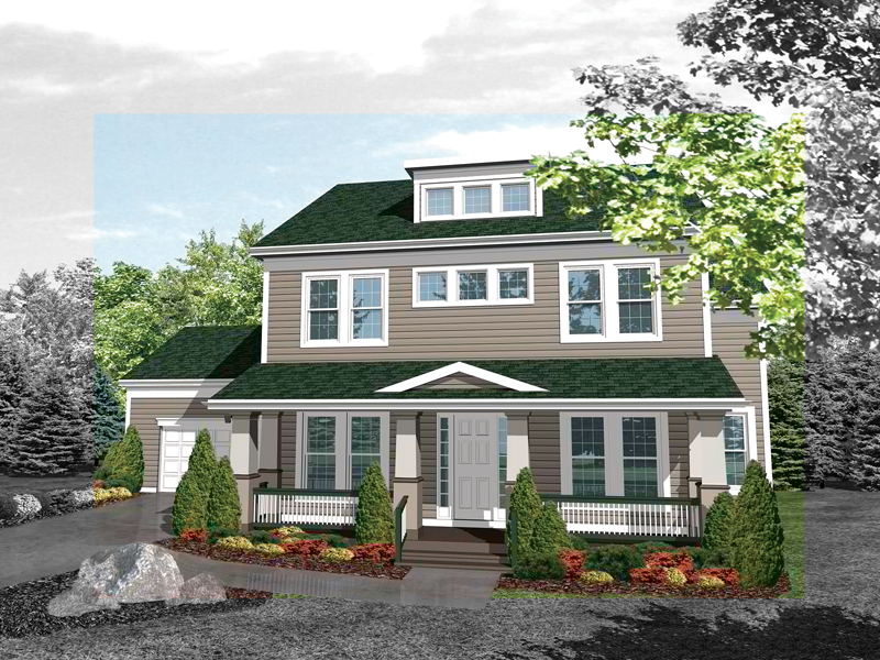 two story country house has simple harmonious style - 2 Story Country House Plans