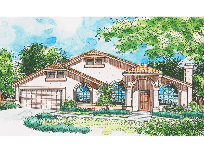 High Styled Sunbelt Home With Arched Windows & Stucco
