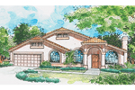 High Styled Sunbelt Home With Arched Windows &amp; Stucco