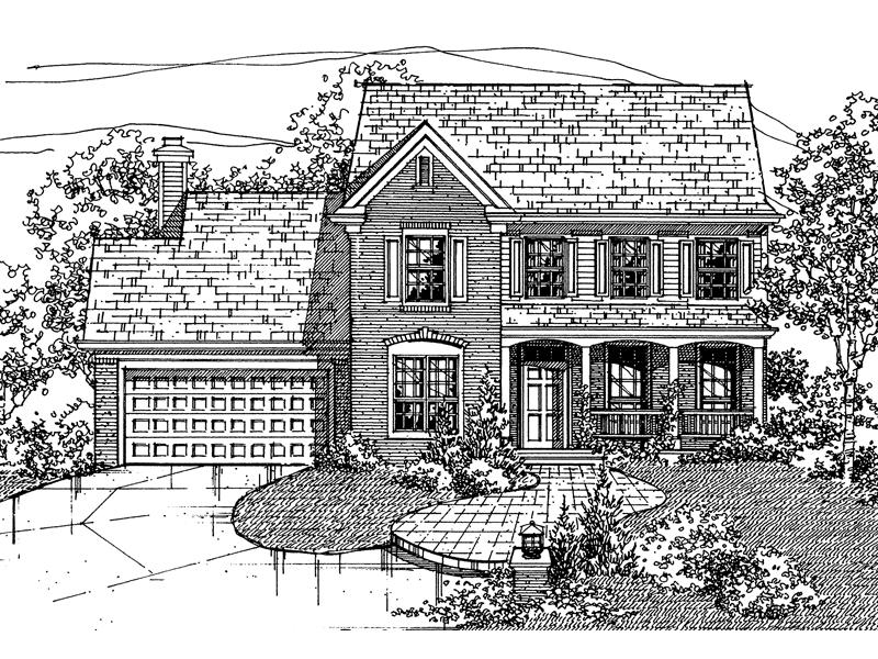 Farmhouse Plan Front of Home - 072D-0104 | House Plans and More