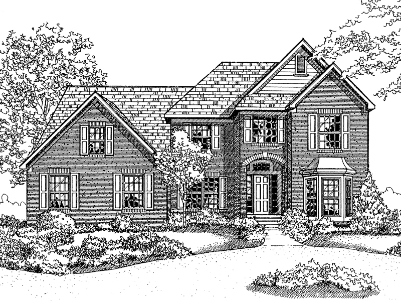 Colonial House Plan Front of Home - 072D-0111 | House Plans and More