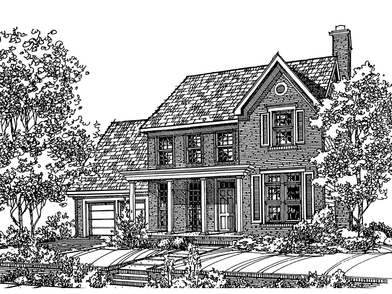 Colonial House Plan Front of Home - 072D-0113 | House Plans and More