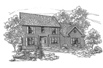 Colonial House Plan Front of Home - 072D-0124 | House Plans and More