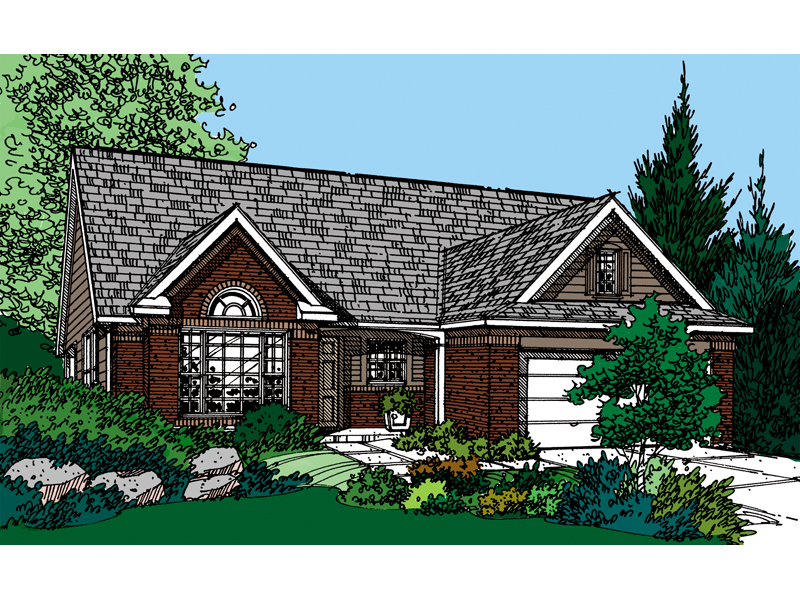 Ranch House Plan Front of Home - 072D-0125 | House Plans and More