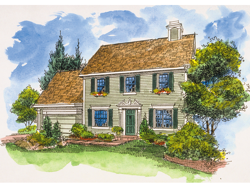 Early American House Plan Front of Home - 072D-0127 | House Plans and More