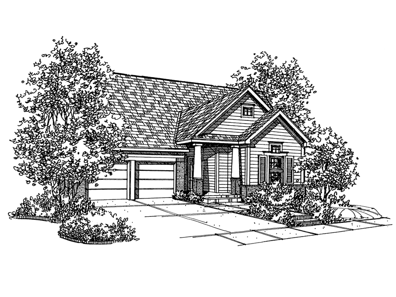 Ranch House Plan Front of Home - 072D-0129 | House Plans and More