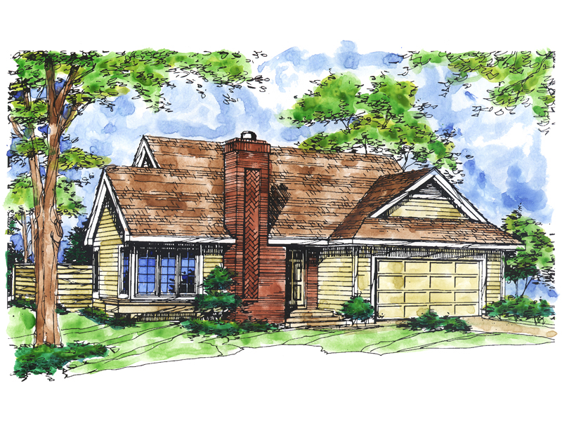 Ranch House Plan Front of Home 072D-0156