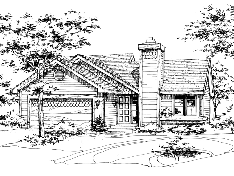 Ranch House Plan Front of Home - 072D-0160 | House Plans and More