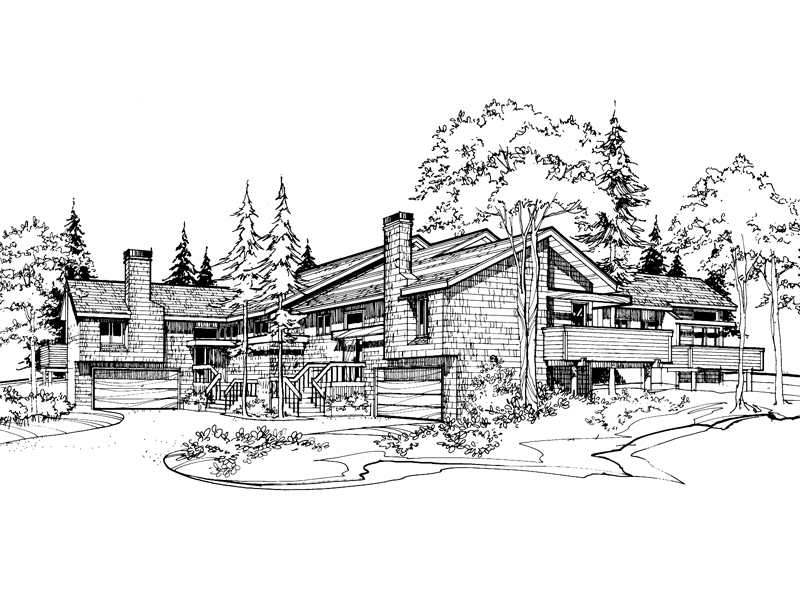 Multi-Family House Plan Front of Home - 072D-0161 | House Plans and More