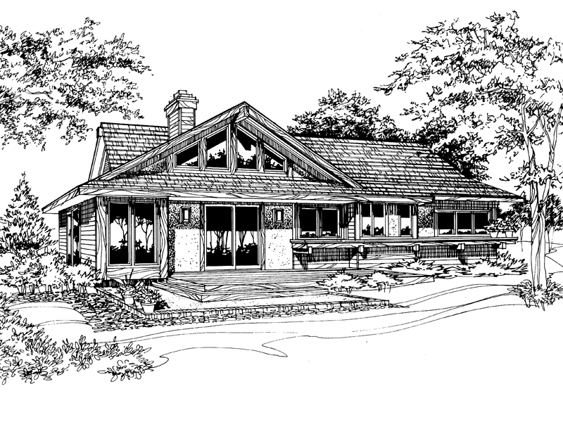 Lake House Plan Front of Home - 072D-0190 | House Plans and More