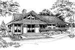 Ranch House Plan Front of Home - 072D-0190 | House Plans and More