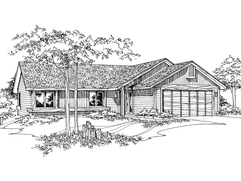 Ranch House Plan Front of Home - 072D-0192 | House Plans and More