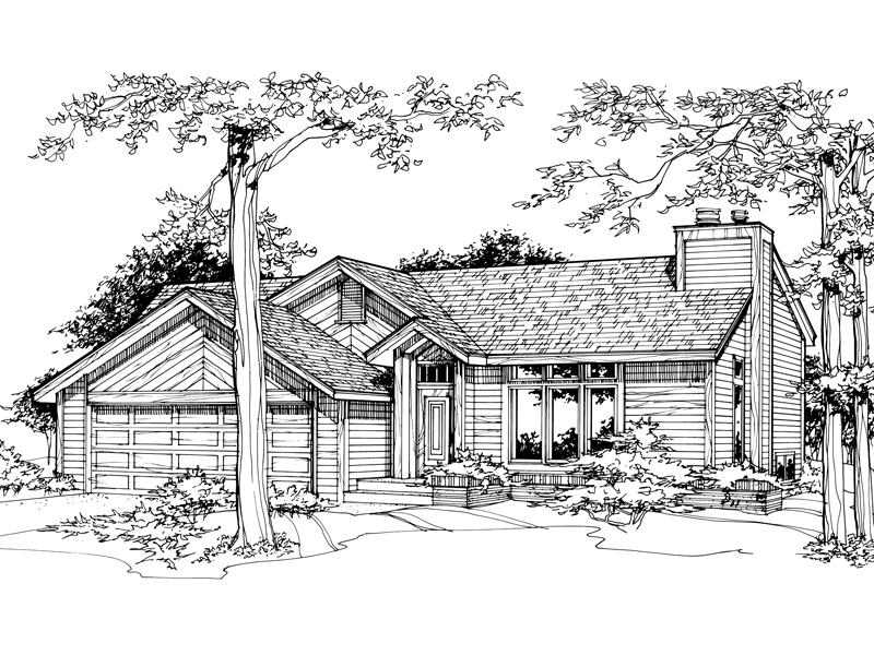 Contemporary House Plan Front of Home - 072D-0195 | House Plans and More