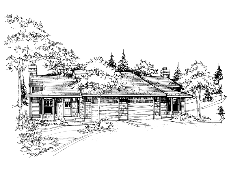 Ranch House Plan Front of Home - 072D-0198 | House Plans and More